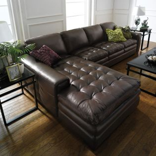 7491-Brown-Chaise  Leather Sofa