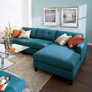 005 Mia-Blue  Sofa w/ Chaise
