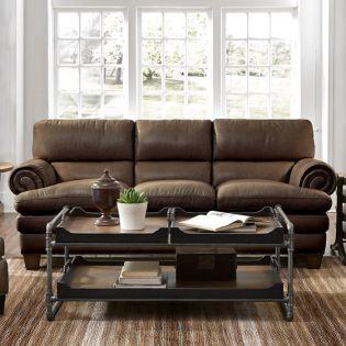 1530-31 Leighton  Leather Sofa  ~Blue Steel~