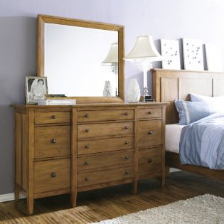 64131-Straw Modern Country  Drawer Dresser + Mirror