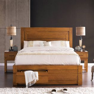 B2597  King Panel Bed w/ Storage (침대만)