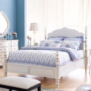 B605-White  Poster King Bed (침대+협탁+화장대)