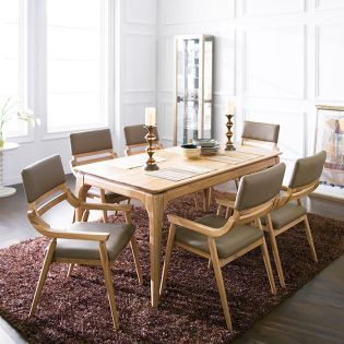 Realoak-6  Dining Set (1 Table + 6 Chairs) ~100% Oak 원목~