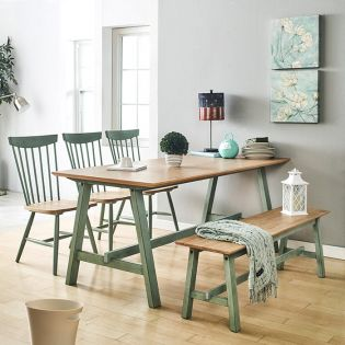 Miamint-6-Natural  Dining Set (1 Table + 3 Chairs + 1 Bench)