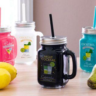 Mason Jar-Black Cocktail Jar  (Straw 포함)