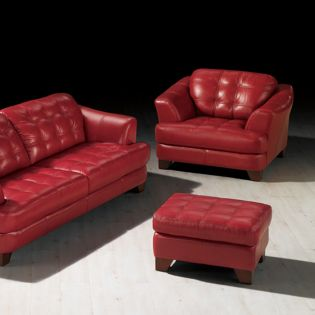 6692-Red  Leather Ottoman