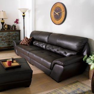 AG653-Black  Leather Ottoman