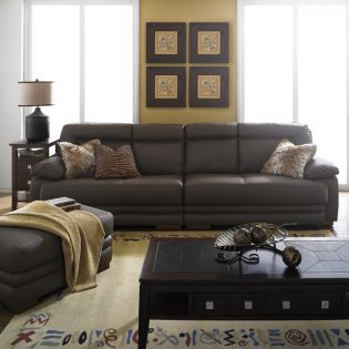 6111-Brown  Leather Ottoman