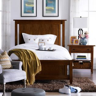 Modern Country-Walnut  Panel Single Bed (침대) (매트 규격: 110cmx 200cm)