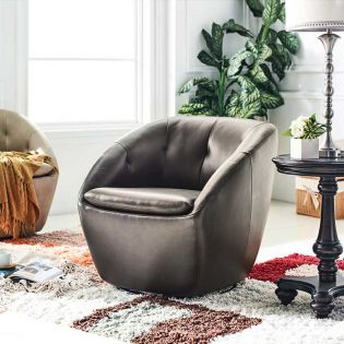 W1621 Walnut Leather Swivel Chair