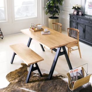 Firenze-4-Natural  Dining Set  (1 Table + 2 Chairs + 1 Bench)