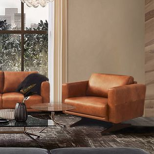 10046 Toffee  Leather Chair