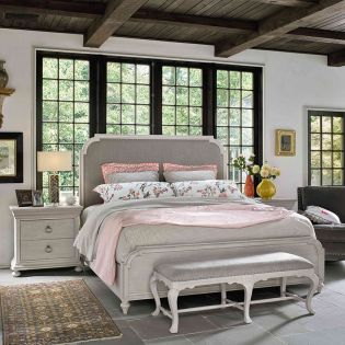 Elan 637310B  Upholstered Queen Bed (침대+협탁+화장대)