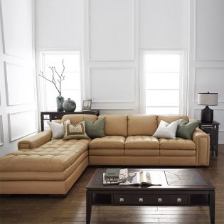 7491-Wheat-Chaise  Leather Sofa