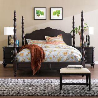 Estate-Brown  Poster Bed (침대+협탁+화장대) +봉높이 조절 가능한 침대+