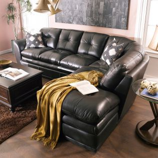 8188-Brown  Leather Sofa -RAF only