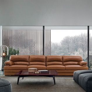 10299-Cognac Leather Sofa (2.5+2.5)