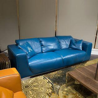 Sophia-Aquablue Leather Sofa