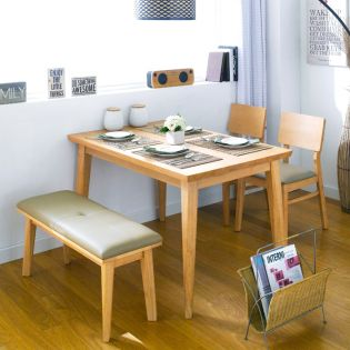 Kathy Wood-4-Natural Dining Set (1 Table + 2 Chairs + 1 Bench)