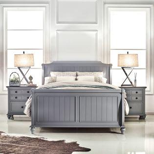 FR-B3944-Grey  Sleigh Bed