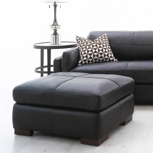 7234 -Brown  Leather Ottoman