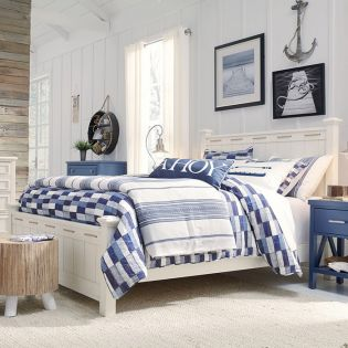 Lake House 8971-4104K  Pebble White Full Bed