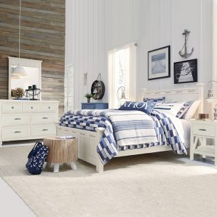 Lake House 8971-4105K  Low Poster Queen Bed Set  (침대 + 협탁 + 화장대)