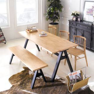 Firenze-6-Natural  Dining Set (1 Table + 3 Chairs + 1 Bench)