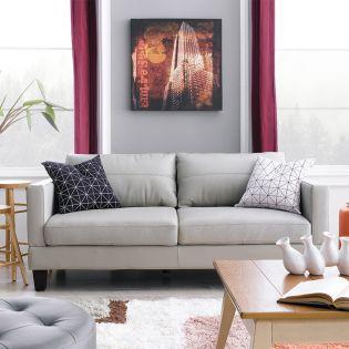 8349-Grey  Leather Sofa