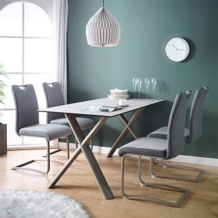 HT90035-4  Ceramic Dining Set  (1 Table + 4 Chairs)