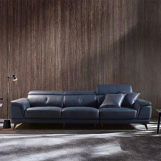 M9181-Navy  Leather Sofa