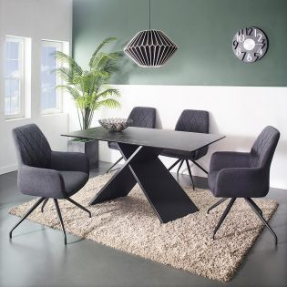 HT90041-4  Ceramic Dining Set  (1 Table + 4 Chairs)