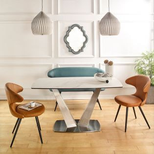 HT90065-4  Ceramic Dining Set  (1 Table + 2 Chairs + 1 Bench)