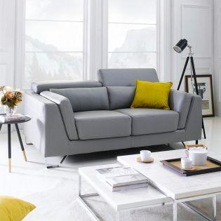 SFU-9201-2P-Grey  Leather-Look Sofa
