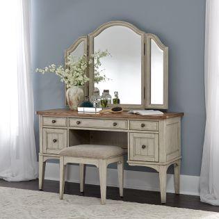 652-BR  Vanity Desk & Mirror & Stool